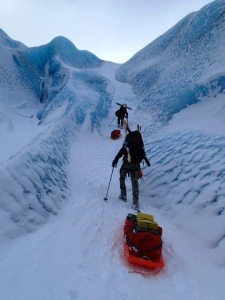 Climbing onto the Eklutna Glacier