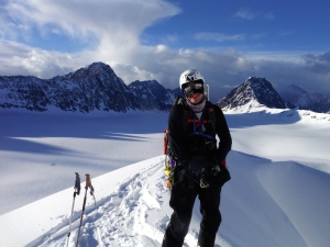 Smiles and stoke before skiing Antarctica Peak