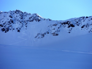 My problem ridge. The couloir is not pictured.
